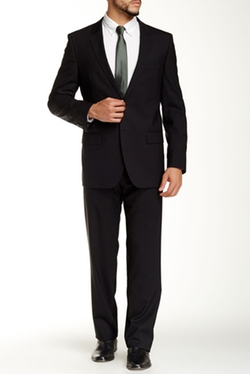 Hugo Boss  - Aamon Hago Solid Black Two Button Suit