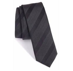 Boss - Stripe Silk & Wool Skinny Tie