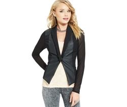 Material Girl  - Faux-Leather Sheer-Sleeve Blazer