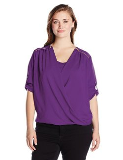 Calvin Klein  - Draped Roll-Sleeve Blouse