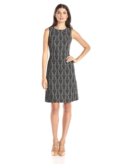 Anne Klein - Sleeveless Jacquard Printed A-Line Dress