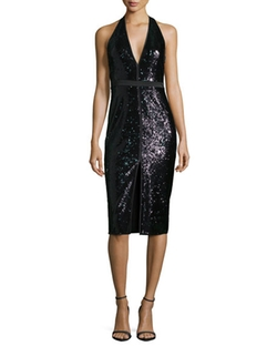 Halston Heritage  - Sleeveless V-Neck Sequined Cocktail Dress