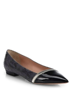 Giorgio Armani - Python-Stamped Leather Ballet Flats