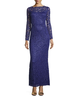 Marina  - Long-Sleeve Lace Gown