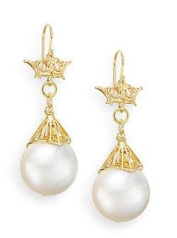 Aviva Carmy - Button Pearl Drop Crown Earrings