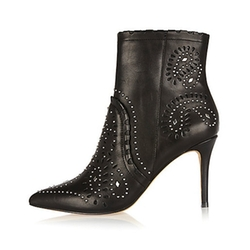River Island - Leather Studded Laser Cut Ankle Boots