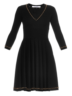 Givenchy - Studded V-Neck Pleated Dress