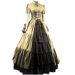 Fancy Dress Store - Women Bowknot Stand Collar Gothic Victorian Dress Costumes