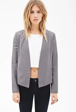 Forever21 - Contemporary Collarless Open-Front Blazer
