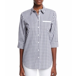 Lafayette 148 New York  - Gingham Check 3/4-Sleeve Shirt