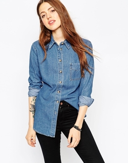 Asos - Denim Slim Fit Shirt In Retro Blue Wash