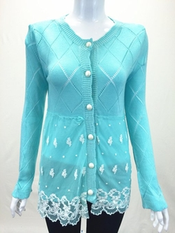 SY America - Diamond Shapes Lace Embroider Cardigan