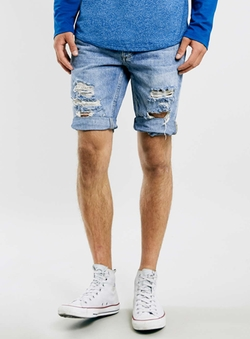 Topman - Bleach Ripped Skinny Denim Shorts