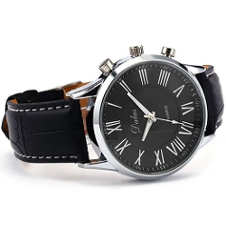 Sanwood - Leather Analog Quartz Wrist Watch Black