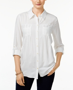 Style & Co.  - Pleated Button-Down Shirt