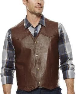 Asstd National Brand - Snap-Front Leather Vest
