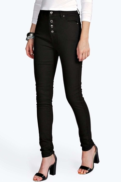 Boohoo Blue - Abby Button Front Skinny Jeans