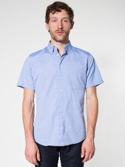 American Apparel - Italian Check Short Sleeve Button-Down Shirt