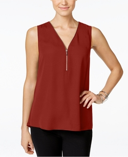 INC International Concepts - Zip-Front Knit-Back Top
