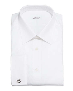 Brioni	  - French-Cuff Shadow Stripe Dress Shirt