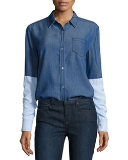 Vince - Chambray Colorblock Button-Down Shirt