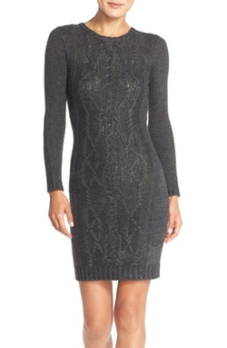 Marc New York - Cable Knit Sweater Body-Con Dress