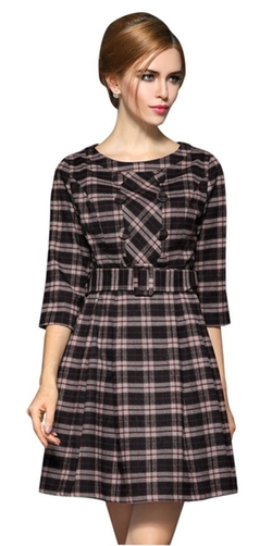 Face N Face - Long Sleeve Plaid Bottom Dress