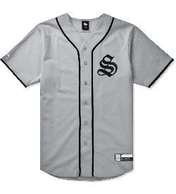 STUSSY   - Grey S Baseball Jersey Shirt
