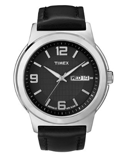 Timex - Black Leather Strap Watch