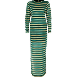 River Island - Green Metallic Stripe Maxi Dress