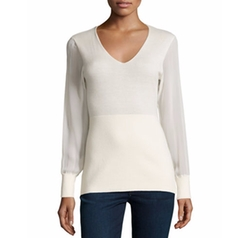 Neiman Marcus Cashmere Collection - Cashmere Sheer-Sleeve V-Neck Top