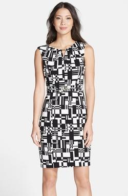 Ellen Tracy - Print Stretch Sheath Dress