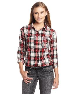 Vanilla Star - Juniors Plaid Shirt Sequin Elbow