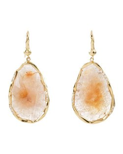 Mimi So  - Peach Sapphire & Diamond Pear-Shape Dangle Earrings