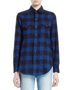 Saint Laurent  - Plaid Stretch-Cotton Button-Down Top