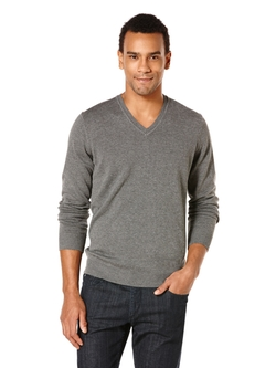 Perry Ellis International - Long Sleeve Solid V-Neck Sweater
