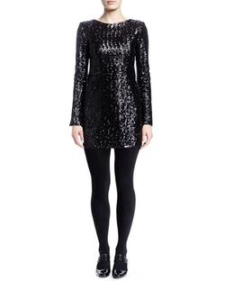 Saint Laurent - Long-Sleeve Sequined Mini Dress