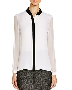 Elie Tahari - Elaine Sheer Sleeve Blouse