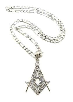 NYfashion101 - Masonic Pendant Figaro Chain Necklace