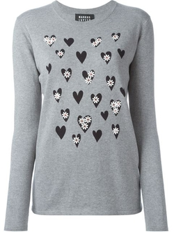 Markus Lupfer - Beaded Flower Hearts Print Jumper
