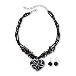 Mixit - Black Swirl Glass Heart Pendant Necklace And Drop Earrings