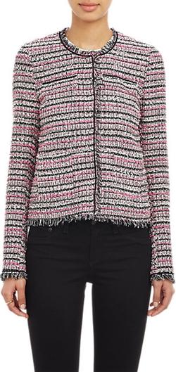 Barneys New York - Tweed Collarless Jacket