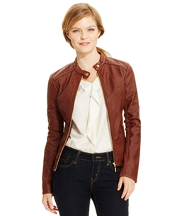 Ivanka Trump - Faux-Leather Moto Jacket