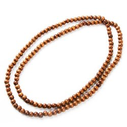 Evbea - Long Tibet Wood Bead Chain Necklace