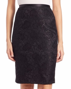 Theia - Lace Pencil Skirt