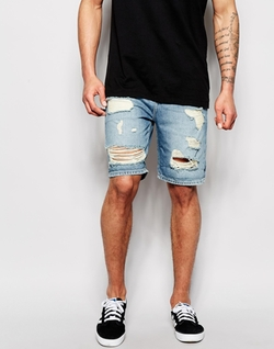 Asos - Slim Fit Rip Denim Shorts