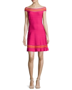 Herve Leger  - Off-The-Shoulder Crochet-Inset Dress