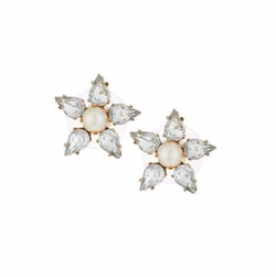 Lydell NYC - Golden Pearly & Crystal Flower Stud Earrings