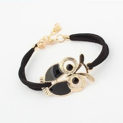 Aokdis - Owl Decoration Faux Leather Bracelets