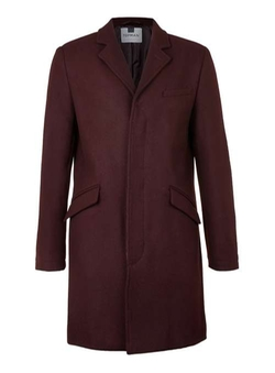Topman - Burgundy Wool Blend Overcoat